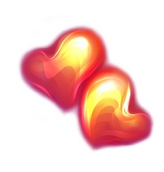 red glossy hearts vector image vector image