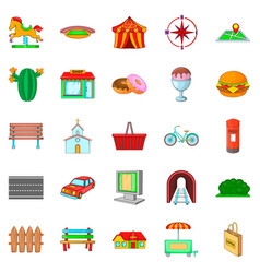 region icons set cartoon style vector image