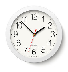 Round wall clock with white body isolated vector image