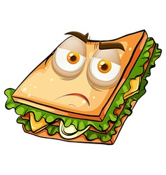 Sad face on sandwich vector