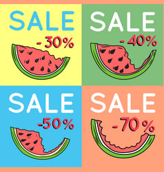 set of summer sale backgrounds with watermelon vector image