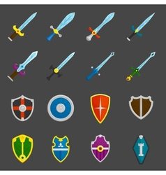 Shield swords emblems icons set vector image vector image