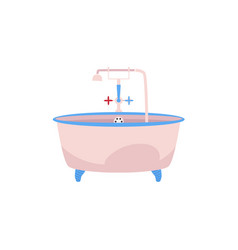 Side view clawfoot bathtub with faucet and douche vector