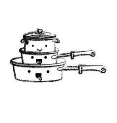 stewpan and cooking pot stack monochrome blurred vector image