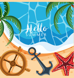 Summer theme background with trees and anchor vector