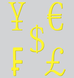 Symbol money set golden vector image