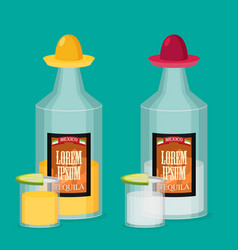 Tequila bottle lemon flat vector