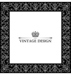 vector vintage royal retro frame ornament black vector image
