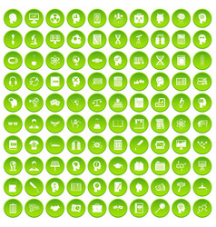 100 knowledge icons set green vector