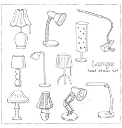 Doodle set of lamps vector