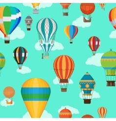 Vintage hot air balloons seamless pattern vector