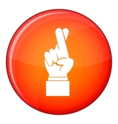Fingers crossed icon flat style vector