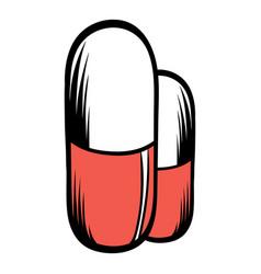 Medical capsule icon cartoon vector