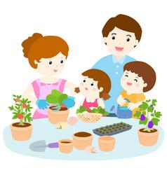 Family planting healthy organic vegetable cartoon vector