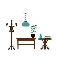 Furniture pieces living room lamp hanger and vector