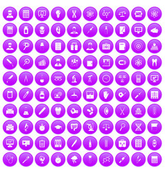 100 lab icons set purple vector