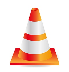 Traffic cone orange with white stripes vector