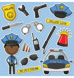 African-american police officer vector