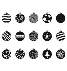 Black christmas ball christmas bauble icons set vector