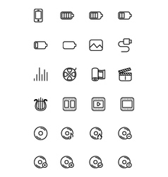 Media line icons 2 vector