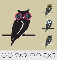 Owl and glasses vector