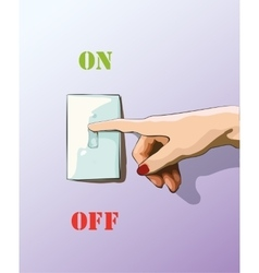 Turn off toggle style electric light wall switch vector