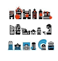 Silhouettes of buildings from natural disasters vector