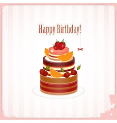 Chocolate berry cake vector