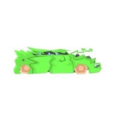 Badly Broken Green Car vector image