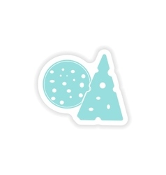 Paper sticker on white background sausage cheese vector