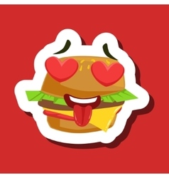 Burger sandwich in love with hearts in eyes cute vector
