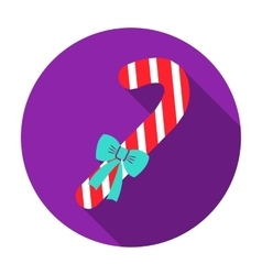 Christmas candy cane with ribbon bow icon in flat vector