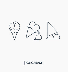 collection of outline ice cream icons vector image vector image