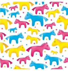 Colorful toy horses seamless background vector