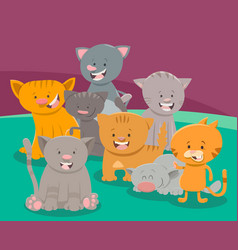 cute cat or kitten characters group vector image vector image