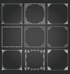 decorative frames and borders square set 2 vector image