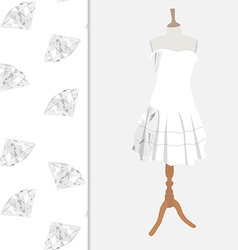 Dress with diamond pattern vector image