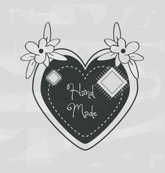 Emblem shape heart with flower decoration design vector