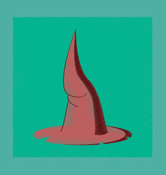 Flat shading style icon witch hat vector