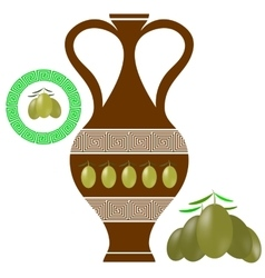 Greek amphora olives icon on white background vector