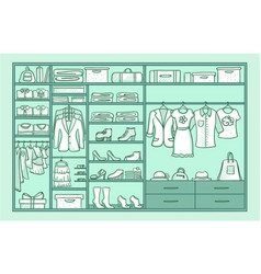 hand drawn female wardrobe template vector image