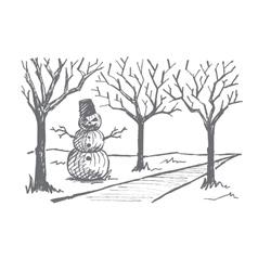 Hand drawn Halloween snowman made of pumpkins vector image