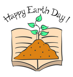Happy earth day with book and plant vector