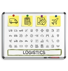 Logistic hand drawing line icons vector