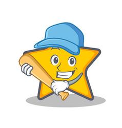Playing baseball star character cartoon style vector