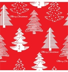 Seamless pattern of stylization firs on red vector image vector image