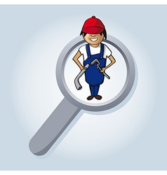 Service search plumber boy cartoon vector image