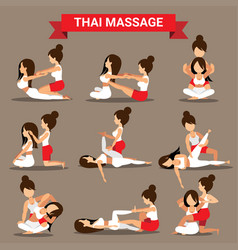 Set of thai massage positions design for healty vector