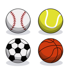 Set sport balls equipment image vector