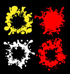splashes shape silhouettes on black vector image vector image